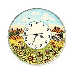 CERAMICHE D'ARTE PARRINI - Italian Ceramic Wall Clock Decorated Landscape Sunflower Hand Painted Made in ITALY Tuscan Art Pottery