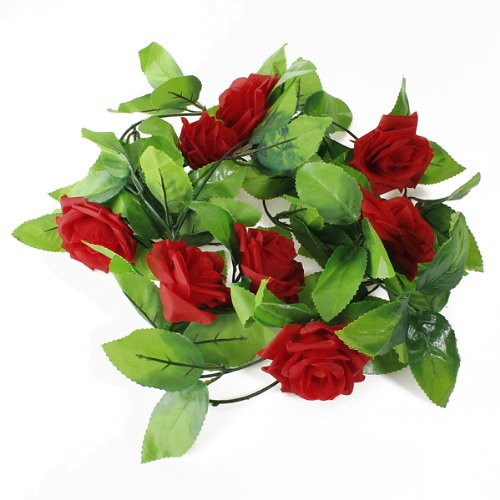 1 X 8.2ft Artificial Silk Rose Flower Ivy Vine Leaf Garland Wedding Party Home Decor,Red