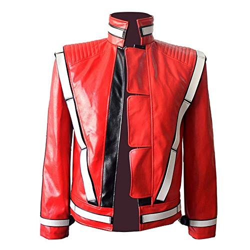 Michael Jackson Thriller Jacket Open Stitch Vocal Concert Leather Punk Jacket Outwear Red (M)]()