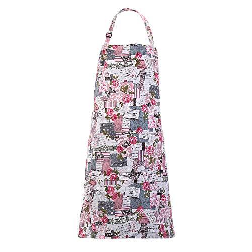 MissOwl Adjustable Bib Apron Extra Long Ties with Pockets Home Kitchen Cooking Baking Gardening Apron for Women Men Rose