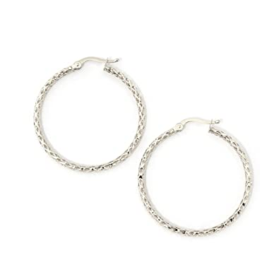 bd3cba5e0 Amazon.com: 14k White Gold 2mm Mesh Hoop Earrings, 1.2