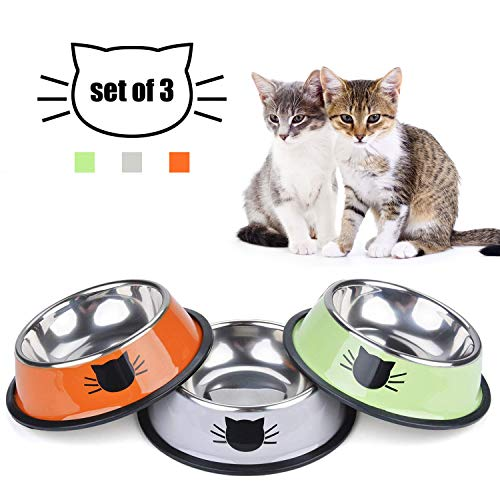 TOMAS Cat Bowls Cat Dishes Kitten Bowls Cat Food Water Bowls with Non-Slip Rubber Base Pet Bowls Feeding Bowls for Cats…