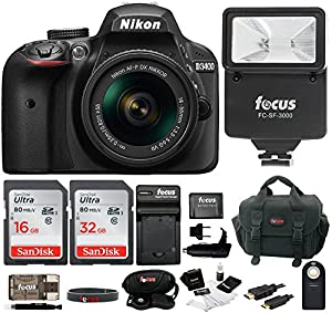 Nikon D3400 DSLR Camera with 18-55mm Lens (Black) and 48GB SD Card Bundle
