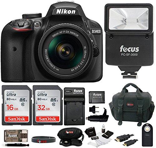 Nikon D3400 DSLR Camera with 18-55mm Lens (Black) and 48GB SD Card Bundle
