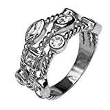 Paz Creations ♥925 Sterling SilverCubic Zirconia Triple Row Band Ring (8),Made in Israel