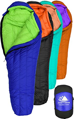 Hyke & Byke Goose Down Sleeping Bag for Backpacking – Eolus 0 Degree F 800 Fill Power Ultralight 4 Season Men's and Women's Lightweight Mummy Bags for Cold Weather
