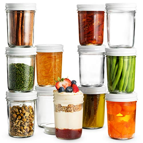 8 Oz Glass Mason Jars Wide Mouth - Glass Jars with Metal Airtight Lids Perfect Meal Prep, Food Storage, Canning Jars, for Jelly, Jam, Dry Food, Spices, Herbs, Salads, Yogurt, Dishwasher Safe (12 Pack)