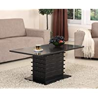 Kings Brand T26-2 Wood Wave Design Cocktail Coffee Table, Black Finish