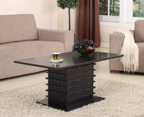 King's Brand T26-2 Wood Wave Design Cocktail Coffee Table, Black Finish ()