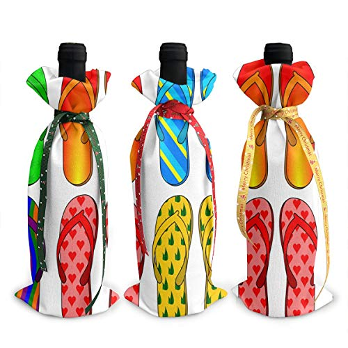 Flip Flops Corlorful Wine Bags Wraps Dresses Reusable Beer Red Wine Bottle Gift Bags Travel Protector Package 3 Pack