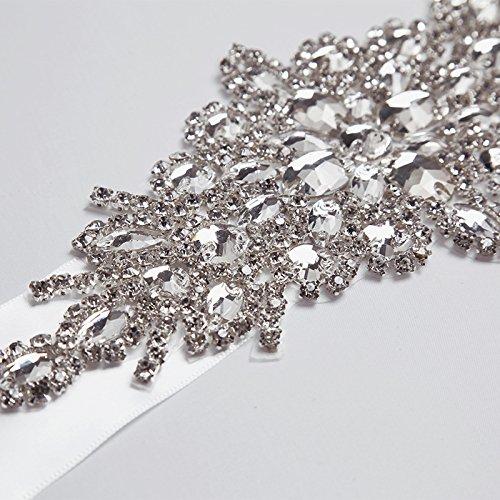 E-Clover Rhinestone Ribbon Sash Belt for Bridal Women's Wedding Dress Belt (Off White) by E-Clover (Image #6)
