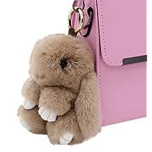 ILOVEDIY Bunny Keychain Rabbit Fur Ball Key Chains Pom Pom Key Ring Bag Pendant (Khaki)