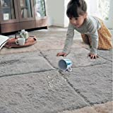 "Ukeler Modern Shag Non Slip Throw Rugs 100% Machine Washable Floor Accent Rugs for Boys Bedroom, 39""x39"" Silver Grey"