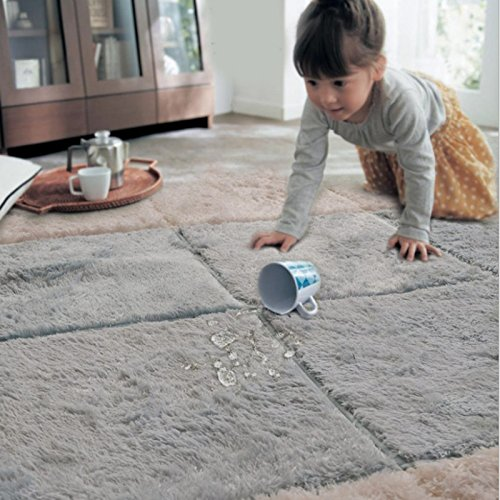 Accent Throw Rug (Ukeler Modern Shag Non Slip Throw Rugs 100% Machine Washable Floor Accent Rugs for Boys Bedroom, 39''x39'' Silver Grey)