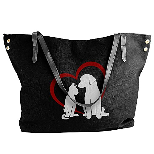 Dog Bags Tote Shoulder Messenger Handbag Cat Heart Black Large Canvas Women's zXUqaw