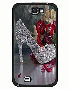 Thin Back Phone Case for Women Print With Argent Ctystal High Heels for Samsung Note 2 N7100
