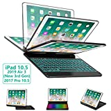 iPad Pro 10.5 Keyboard Case for iPad Pro 10.5 inch 2017 /iPad Air 10.5(3rd Gen) 2019, 360 Rotatable BT/Wireless Backlit Keyboard Case/Smart Auto Sleep-Wake Case/Ultra-Thin Keyboard Cover (Black)