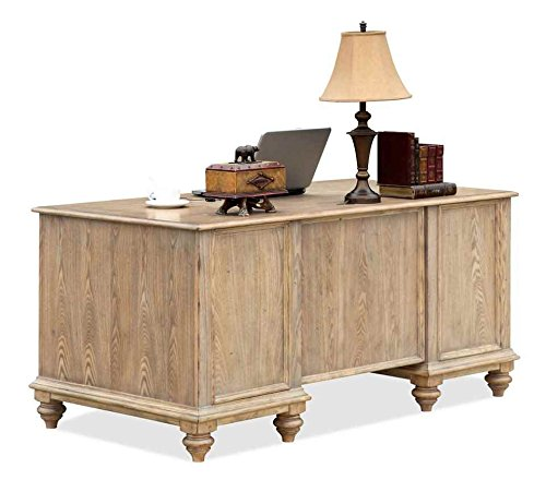 Coventry Two Tone Executive Desk w Drawers (Weathered Driftwood & Dover White) by Riverside Furniture (Image #4)