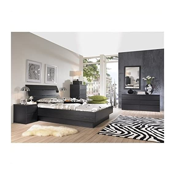Pemberly Row Modern Contemporary 6 Drawer Wide Double Bedroom Dresser in Black Woodgrain - Six Drawer Double Dresser Foil surface Black Woodgrain finish - dressers-bedroom-furniture, bedroom-furniture, bedroom - 514oEKx AdL. SS570  -