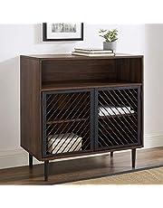 WE Furniture Metal Door Accent Bar Cabinet with Storage