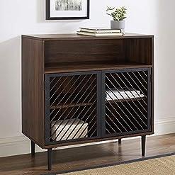 Kitchen Walker Edison Modern Metal Wood Buffet and Bar Cart Kitchen Storage Cabinet Shelf, 32 Inch, Dark Walnut Brown modern buffet sideboards