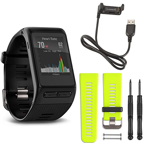 Garmin Vivoactive Hr Gps Smartwatch Regular Fit  Black  Force Yellow Band Deluxe Bundle Includes Vivoactive Hr Smartwatch  Force Yellow Band And Usb Charging Cable