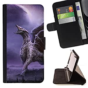 DEVIL CASE - FOR Samsung ALPHA G850 - Dragon Wings Purple Lightning Wings - Style PU Leather Case Wallet Flip Stand Flap Closure Cover