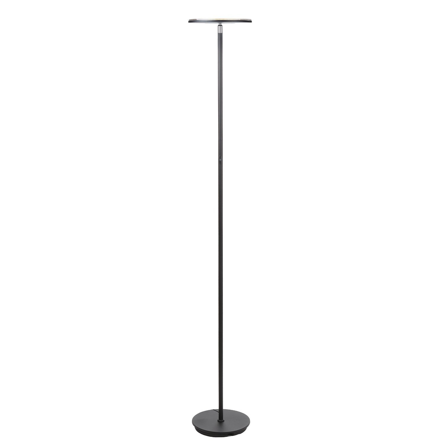 Brightech Sky Flux - Modern LED Torchiere Floor Lamp for Living Rooms & Bedrooms - Adjustable Warm to Cool White - Tall Pole, Standing Office Light - Bright, Minimalist & Contemporary Uplight - Black