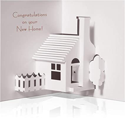 Family Love Whimsical homes,Housewarming Gift Home Sweet Home Card Blank Stamped Card SALE: Family Home Congratulations New House
