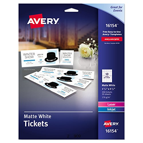 Avery Blank Printable Tickets  Tear Away Stubs  Perforated Raffle Tickets  Pack Of 200  16154