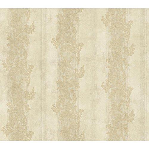 Acanthus Leaf Stripe - York Wallcoverings GF0817 Gold Leaf Acanthus Stripe Wallpaper, Cream, Beige