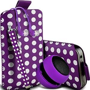 Samsung Galaxy Ace 3 S7270 Protección Premium Polka PU ficha de extracción Slip In Pouch Pocket Cordón piel cubierta de la caja de liberación rápida, grande Polka Stylus Pen, Jack de 3,5 mm auriculares auriculares auriculares y mini recargable portátil de 3,5 mm Cápsula Viajes Bass Speaker Jack púrpura y blanca por Spyrox