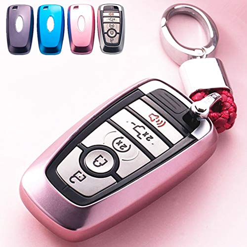 Mofei for Ford Key Fob Case Shell Cover TPU Protector Holder with Key Chain Compatible with Ford Fusion F150 F250 F350 F450 F550 Edge Explorer Escape Mustang Remote Keyless Entry (Pink)