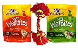 Wellness WellBites Soft & Chewy Treats Good Dogs 2 Flavor Variety Toy Bundle: (1) WellBites Lamb & Salmon Recipe (1) WellBites Turkey & Duck Recipe, 6 Oz. Ea. (2 Bags Toy)