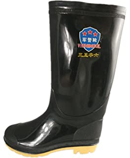 Men's Solid Breathable Tall Rain Boots High Wellington Booties Garden Rubber Shoes