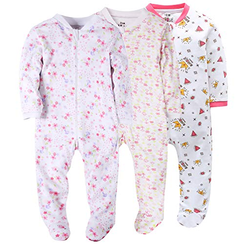 Marquebaby Flowers&Diamond Baby Girls' Footed Pajama - 100% Cotton Zip Front Sleep and Play Sleeper 12Months