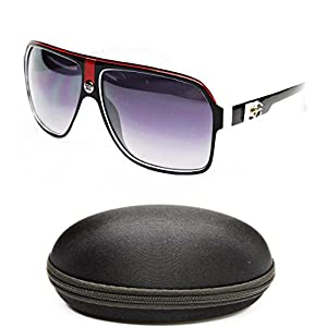 D5005-cc Designer Eyewear Turbo Aviator Sunglasses (719 Black/red/white)