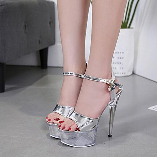 15CM Summer Transparentes 36 de Mujer Plataforma Zapatos Heel Sexy Impermeable Heels Color Silver Sandalias High 2018 B Ladies Sandalias Fine Super Zapatos Crystal tamaño Uztqwgg