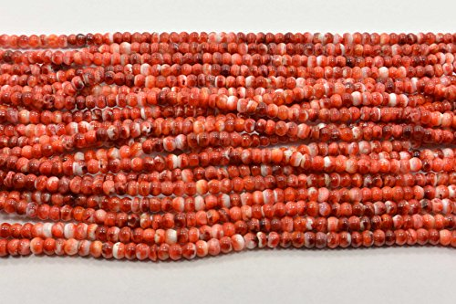 Red White Spiny Oyster Shell Rondelle 4 MM Beads 16 Inch Strand