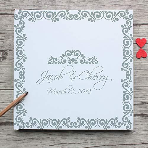 (Ed8rson Delicate Photo Booth Album,Personalized White Wedding Guest Book Alternative,Unique Custom Hardcover Instant Landscape Guestbook)