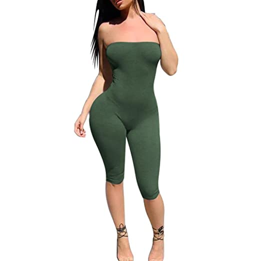 Amazoncom Keepfit Women Midi Jumpsuit Solid Sheath Clubwear