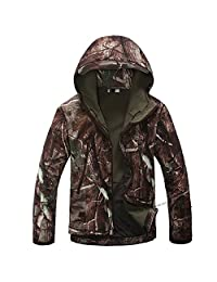 Waterproof Military Tactical Combat Softshell Jacket Outdoor Camping Hiking Camouflage Hoodie Coat (Real Tree, L)