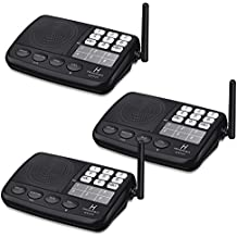 Hosmart 1/2 Mile LONG RANGE 7-Channel Security Wireless Intercom System for Home or Office (2017 New vesion)[3 Stations Black]