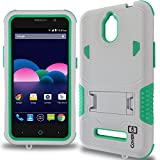ZTE Obsidian Case, CoverON [DuraShield Series] Drop Proof Phone Cover Grip + Bumper + Stand Hybrid Case for ZTE Obsidian - Teal/White