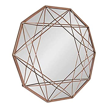 Kate and Laurel Keyleigh Modern Glam Geometric Shaped Metal Accent Wall Mirror, Rose Gold
