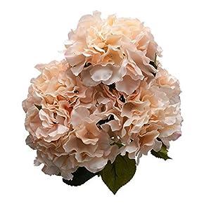 Derker Silk Artificial Hydrangea Bouquet 5 Big Heads Hydrangea Flowers Arrangement Home Wedding Centerpieces Decoration (champagne) 102