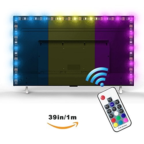 Bias lighting fo HDTV Exgreem Neon Accent LED Strips Bias Backlight RGB Lights with Remote Control for HDTV, Flat Screen TV Accessories and Desktop PC, Multi Color (39 inches) (Monitor Screen Flat Desktop)
