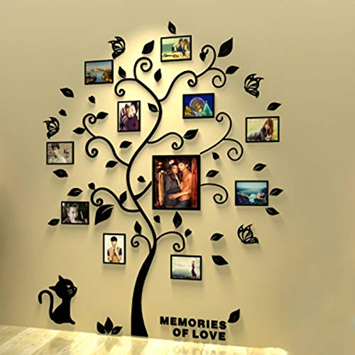Unitendo 3D Acrylic Wall Stickers Photo Frames FamilyTree Wall Decal Easy to Install &Apply DIY Photo Gallery Frame Decor Sticker Home Art Decor (Black Leaves Tree with cat, L)