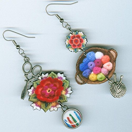 Granny Square Crochet earrings, yarn crafters jewelry crocheter knitter knitting Frida's Flowers