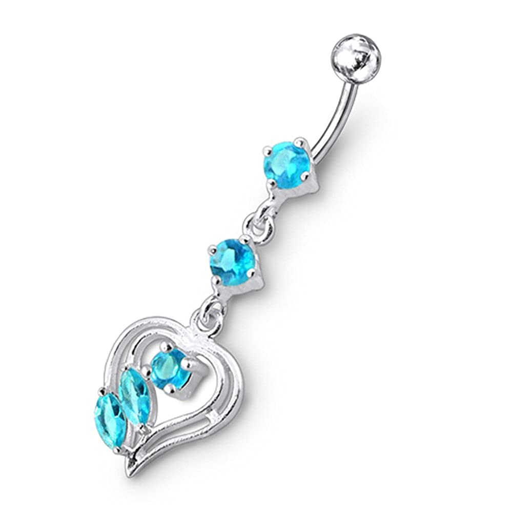 AtoZ Piercing Fancy Antique Heart Dangling 925 Sterling Silver with Stainless Steel Belly Button Rings